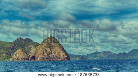 From A Boat  In  Beautiful Panorama Coastline Sea And Rock
