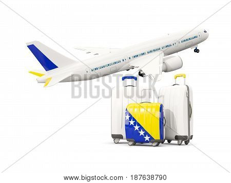 Luggage With Flag Of Bosnia And Herzegovina. Three Bags With Airplane