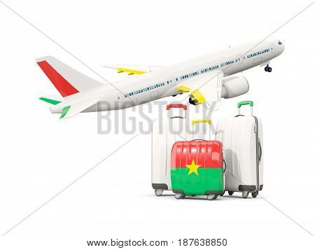 Luggage With Flag Of Burkina Faso. Three Bags With Airplane