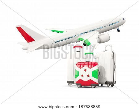 Luggage With Flag Of Burundi. Three Bags With Airplane