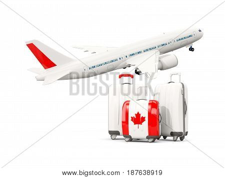Luggage With Flag Of Canada. Three Bags With Airplane