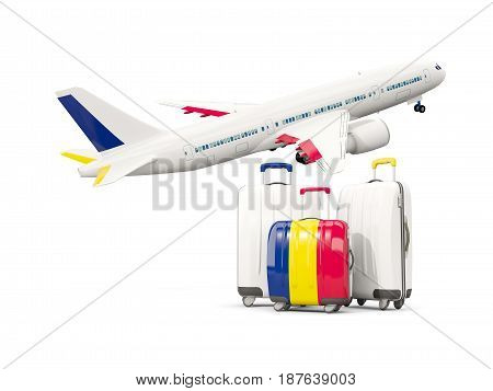 Luggage With Flag Of Chad. Three Bags With Airplane