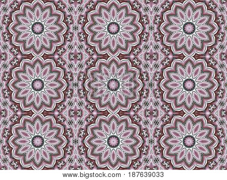 Abstract geometric seamless retro background. Regular round blossoms pink, violet, brown and pale green.