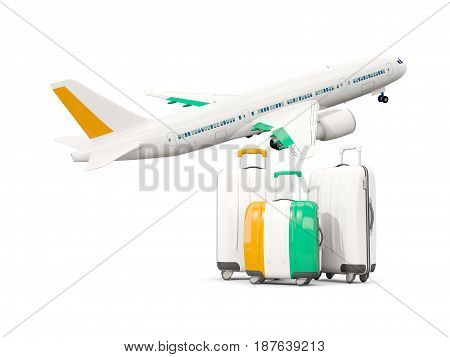 Luggage With Flag Of Cote D Ivoire. Three Bags With Airplane