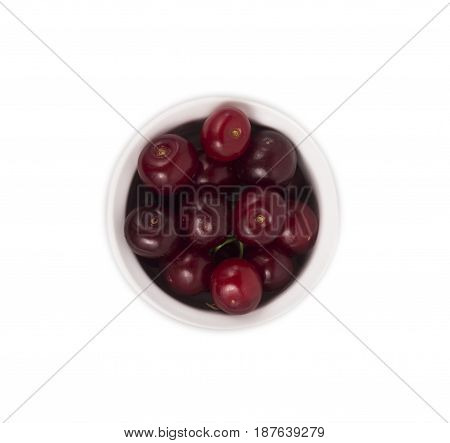 cherry fruit isolated on white background. Ripe cherry close-up. Background berry. Sweet and juicy berry with copy space for text. Top view.
