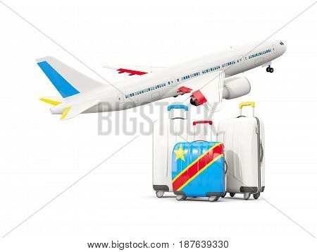 Luggage With Flag Of Democratic Republic Of The Congo. Three Bags With Airplane