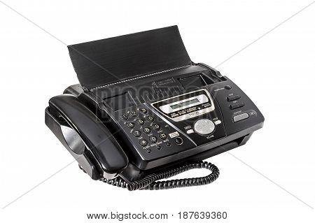 Old fax machine close up, on a white background.  office equipment