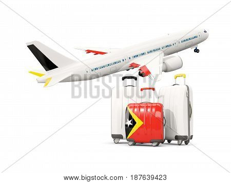 Luggage With Flag Of East Timor. Three Bags With Airplane