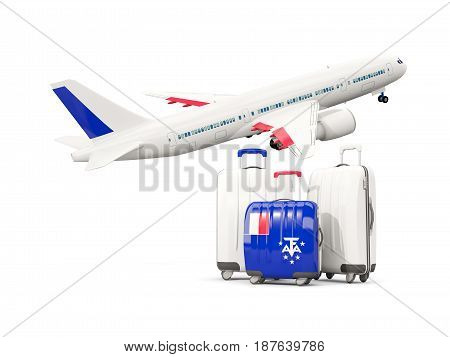 Luggage With Flag Of French Southern Territories. Three Bags With Airplane