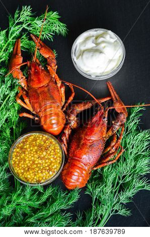 Boiled Crayfish (crawfish) On Natural Back Slate Background Accompanied With Lemon, French Mustard A