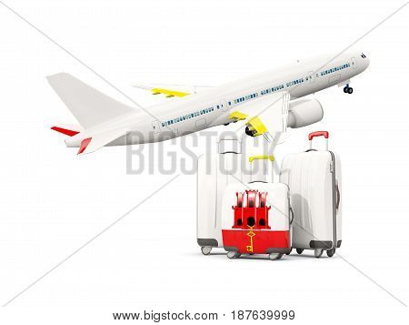 Luggage With Flag Of Gibraltar. Three Bags With Airplane