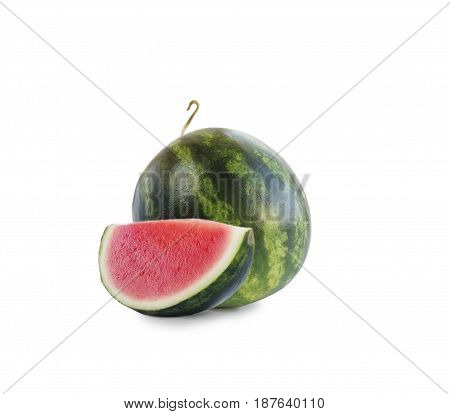 watermelon and slice isolated on white background. Sweet and juicy fruit with copy space for text. Ripe watermelon close-up.