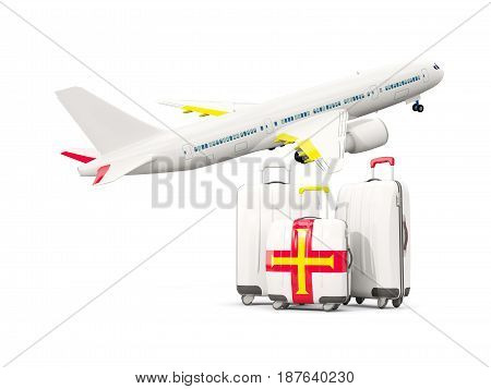 Luggage With Flag Of Guernsey. Three Bags With Airplane