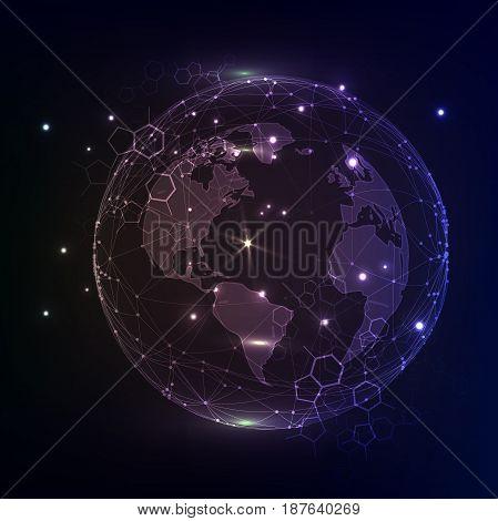 Global network connection, abstraction illustration on dark deep colored violet background