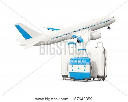Luggage With Flag Of Honduras. Three Bags With Airplane