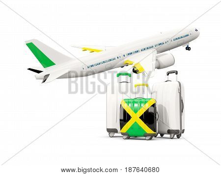 Luggage With Flag Of Jamaica. Three Bags With Airplane
