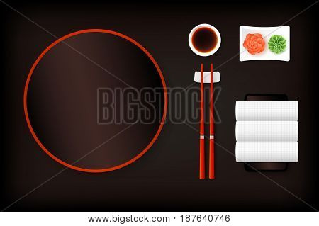 Top View Of Dark Brown Empty Sushi Plate With Saucer Ginger Wasabi Towel And Chopsticks. Vector Template Food Design Element.
