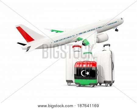 Luggage With Flag Of Libya. Three Bags With Airplane