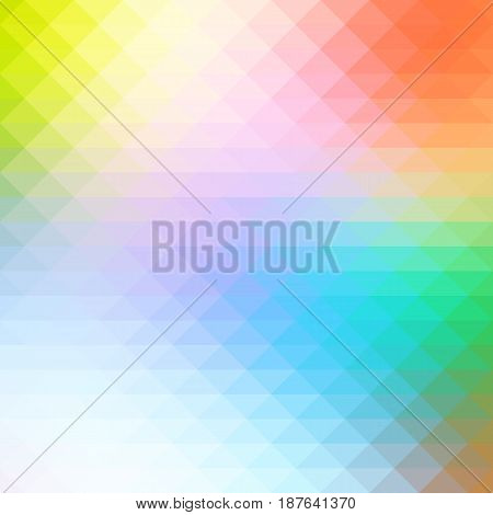 Rainbow Colors Rows Of Triangles Background, Square