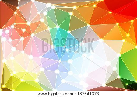 Rainbow Colors Geometric Background With Mesh And Lights