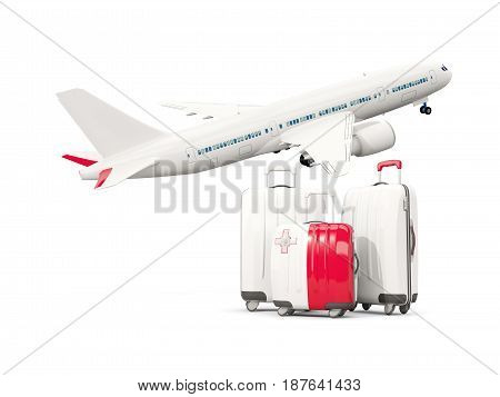 Luggage With Flag Of Malta. Three Bags With Airplane