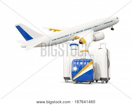 Luggage With Flag Of Marshall Islands. Three Bags With Airplane