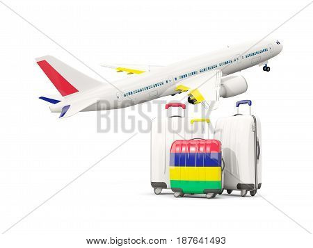 Luggage With Flag Of Mauritius. Three Bags With Airplane