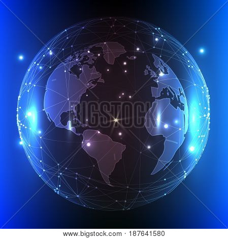 Modern blue vector illustration with the image of our planet.