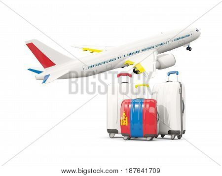 Luggage With Flag Of Mongolia. Three Bags With Airplane