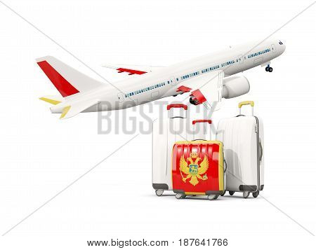 Luggage With Flag Of Montenegro. Three Bags With Airplane