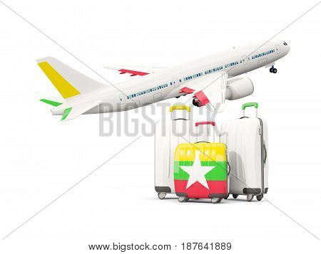 Luggage With Flag Of Myanmar. Three Bags With Airplane