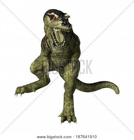 3D Rendering Dinosaur Tyrannosaurus Rex On White