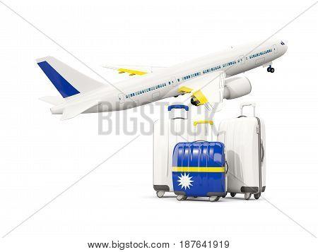 Luggage With Flag Of Nauru. Three Bags With Airplane