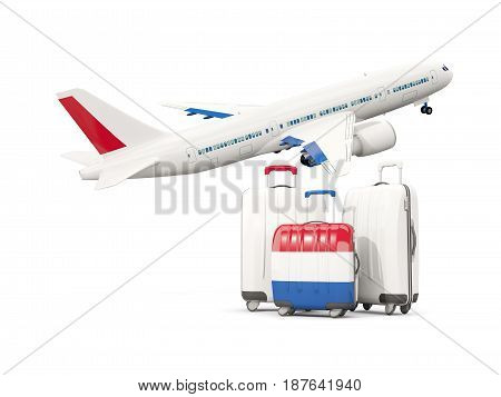Luggage With Flag Of Netherlands. Three Bags With Airplane