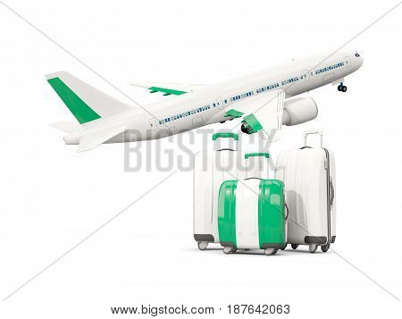 Luggage With Flag Of Nigeria. Three Bags With Airplane