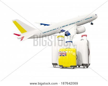 Luggage With Flag Of Niue. Three Bags With Airplane