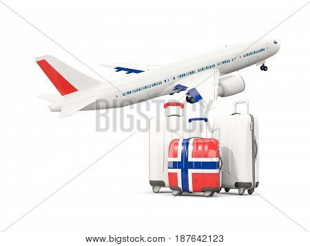 Luggage With Flag Of Norway. Three Bags With Airplane