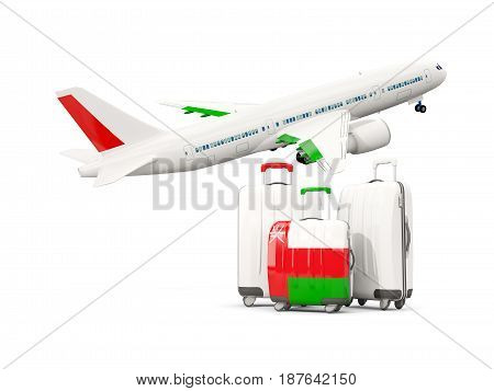 Luggage With Flag Of Oman. Three Bags With Airplane