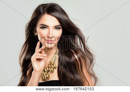 Beautiful Hispanic Fashion Model Woman with Dark Hair and Makeup