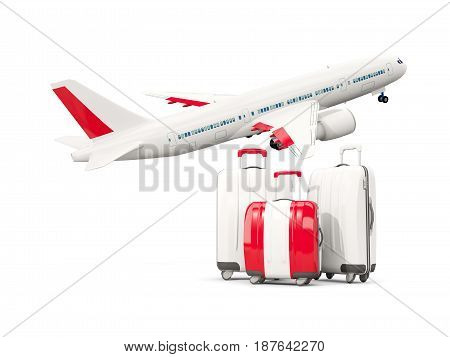 Luggage With Flag Of Peru. Three Bags With Airplane