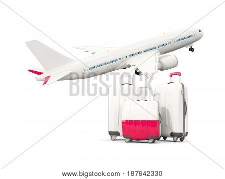 Luggage With Flag Of Poland. Three Bags With Airplane