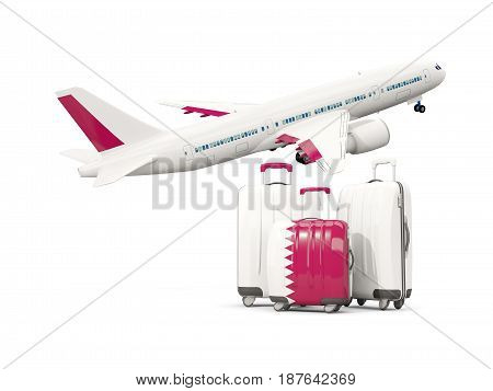 Luggage With Flag Of Qatar. Three Bags With Airplane