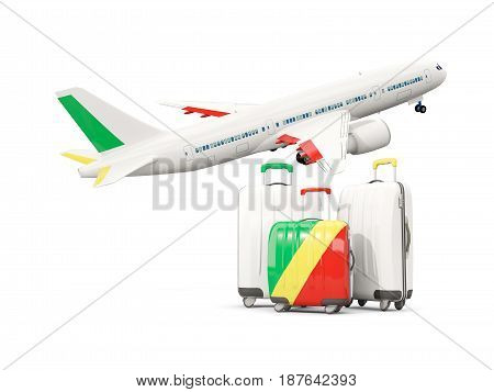 Luggage With Flag Of Republic Of The Congo. Three Bags With Airplane