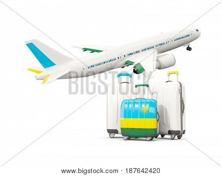 Luggage With Flag Of Rwanda. Three Bags With Airplane
