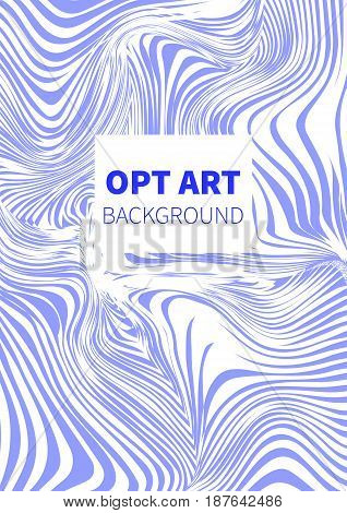 Opt art. Hipster blue vector card banner flyer.
