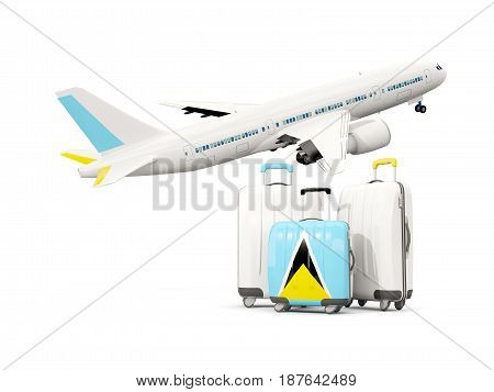 Luggage With Flag Of Saint Lucia. Three Bags With Airplane