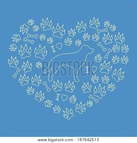 Nice Picture Of Retriever Silhouette On A Background Of Dog Tracks And Bones In The Form Of Heart.