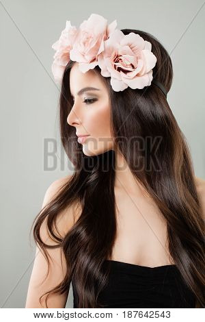 Beautiful Woman with Long Healthy Hairstyle. Perfect Model with Brown Hair Profile