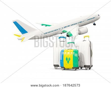 Luggage With Flag Of Saint Vincent And The Grenadines. Three Bags With Airplane