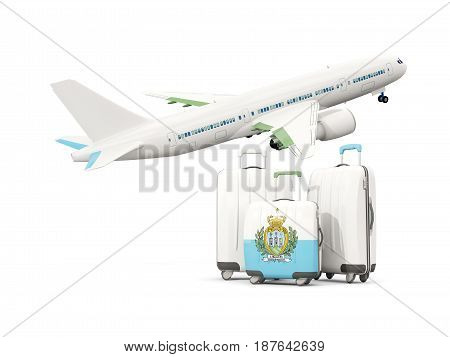 Luggage With Flag Of San Marino. Three Bags With Airplane